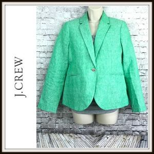J. Crew Campbell Linen Green Sailor Blazer